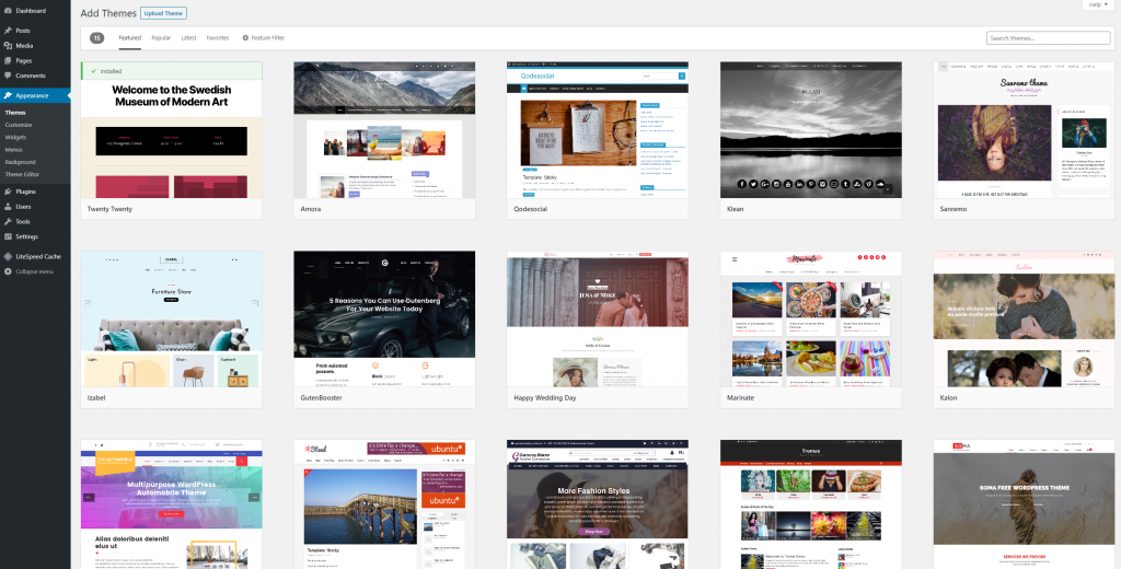 wp theme section