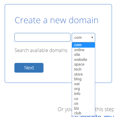 bluehost domain name extension choose
